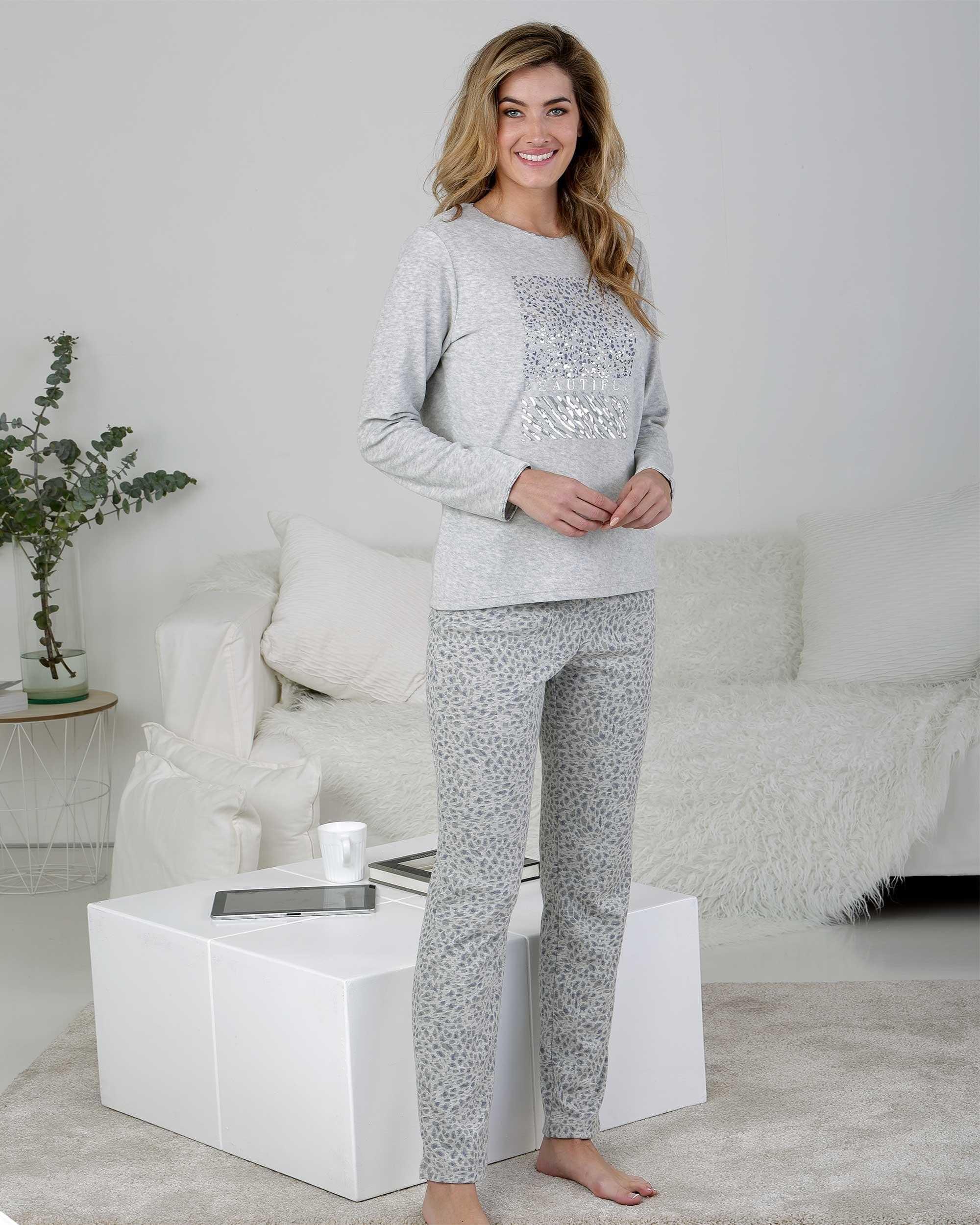 Pijama Señora Terciopelo Animal Print Massana COLOR: gris; TALLAS: l, xl  - Lencería noche  - PEPI GUERRA