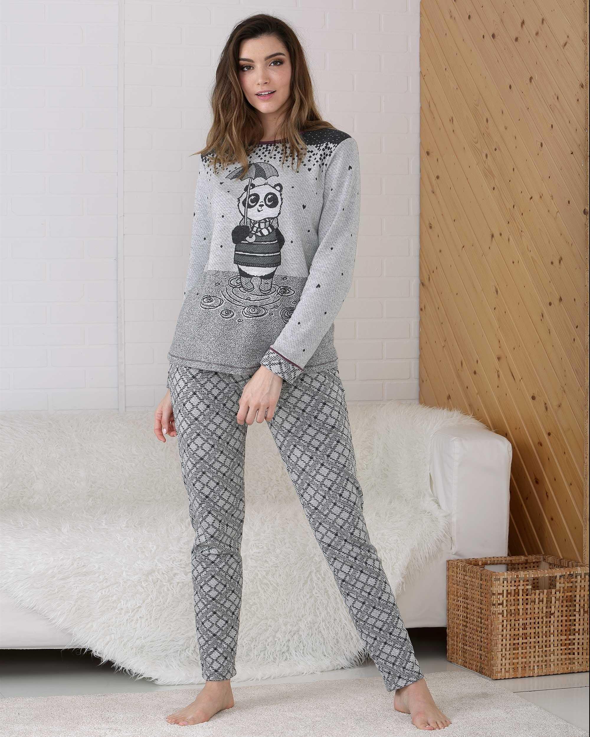 Pijama Señora Panda Massana COLOR: gris; TALLAS: s, m, l, xl, xxl  - Lencería noche  - PEPI GUERRA