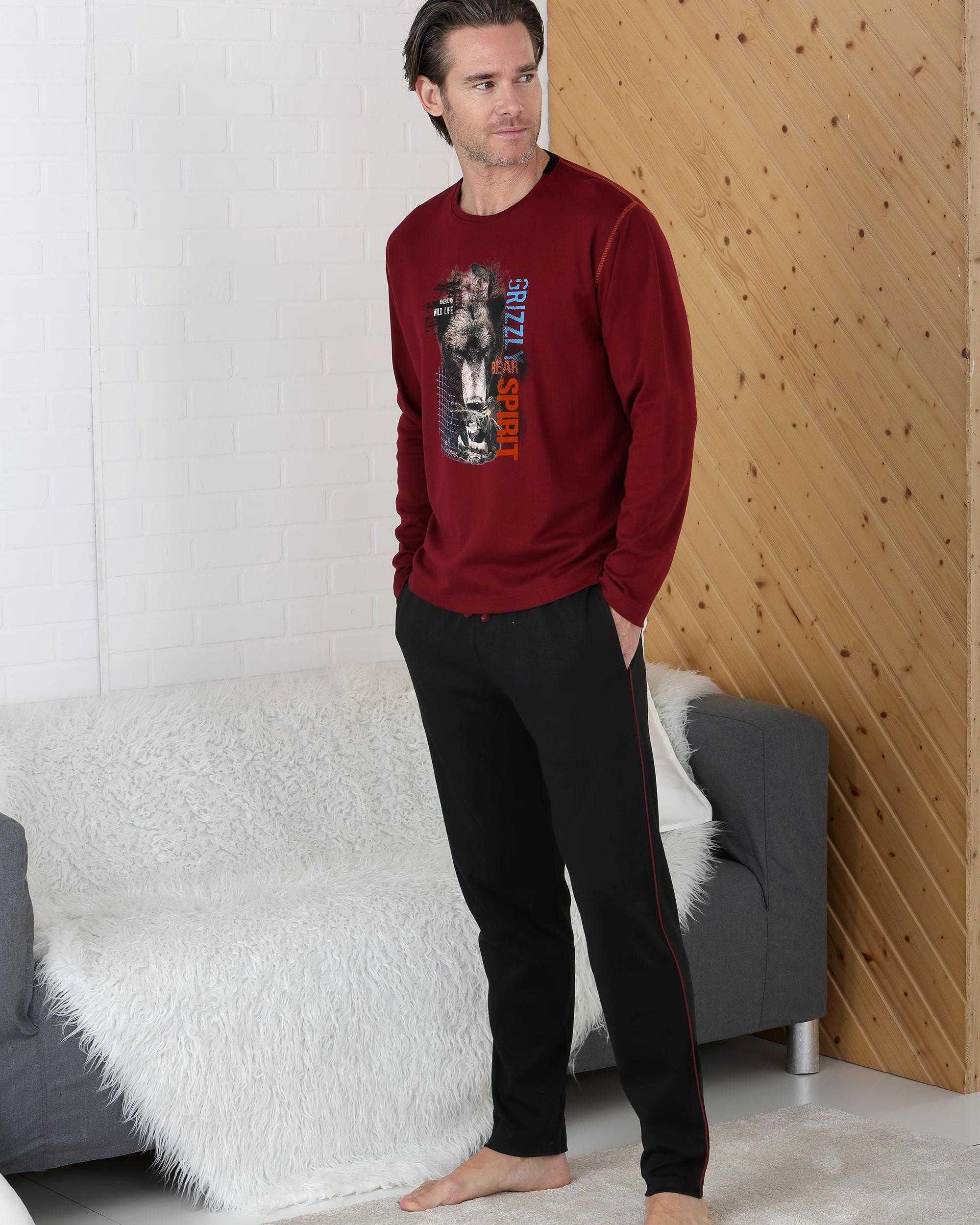 Pijama Caballero Wolf Massana TALLAS: s, m, l, xl; COLOR: burdeos  - HOMBRE  - PEPI GUERRA