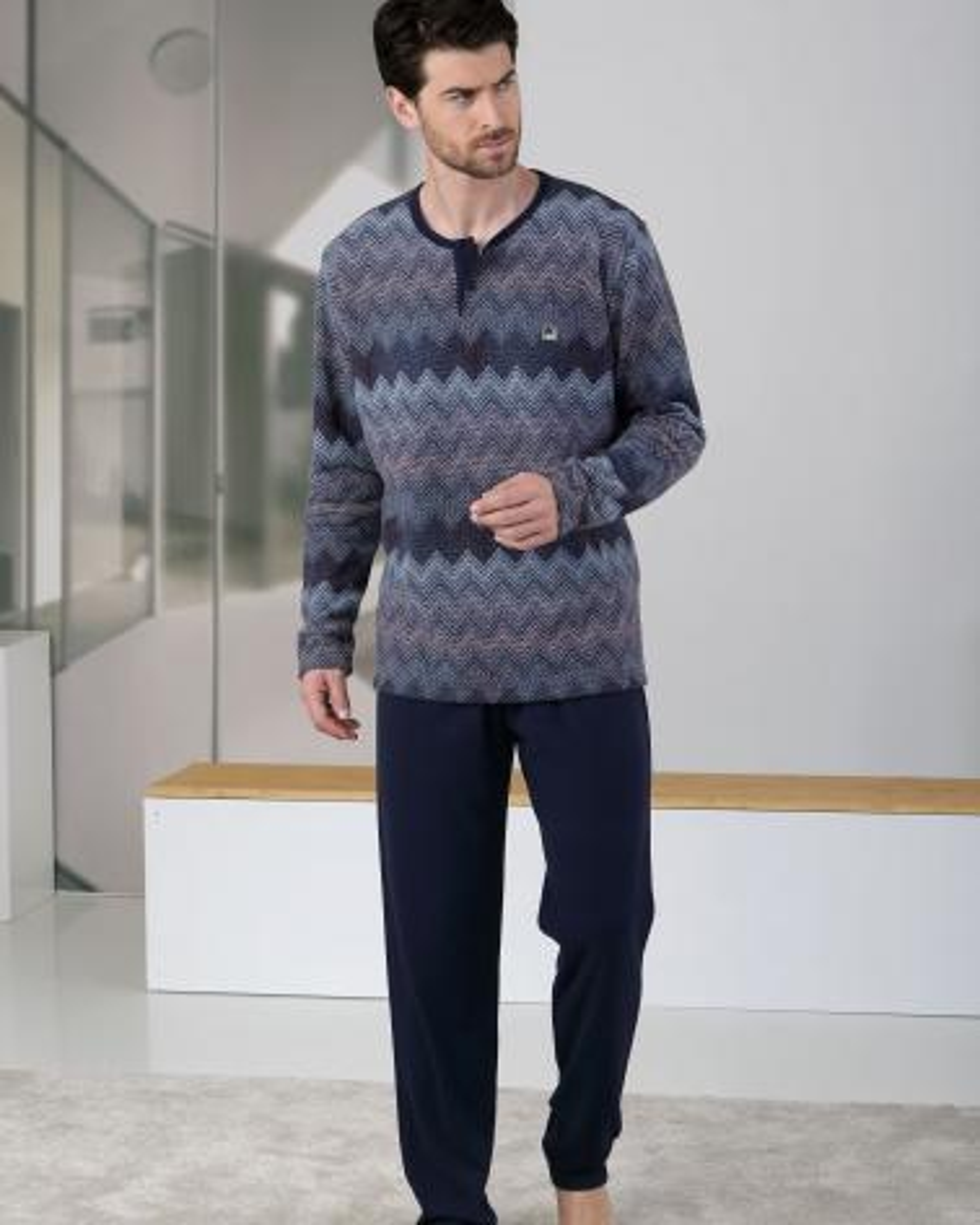 Pijama Caballero Picos Massana TALLAS: m, l; COLOR: azul  - HOMBRE  - PEPI GUERRA