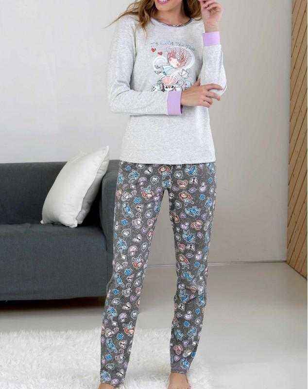 Pijama Señora Tea Massana COLOR: gris; TALLAS: s, m, l  - Lencería noche  - PEPI GUERRA
