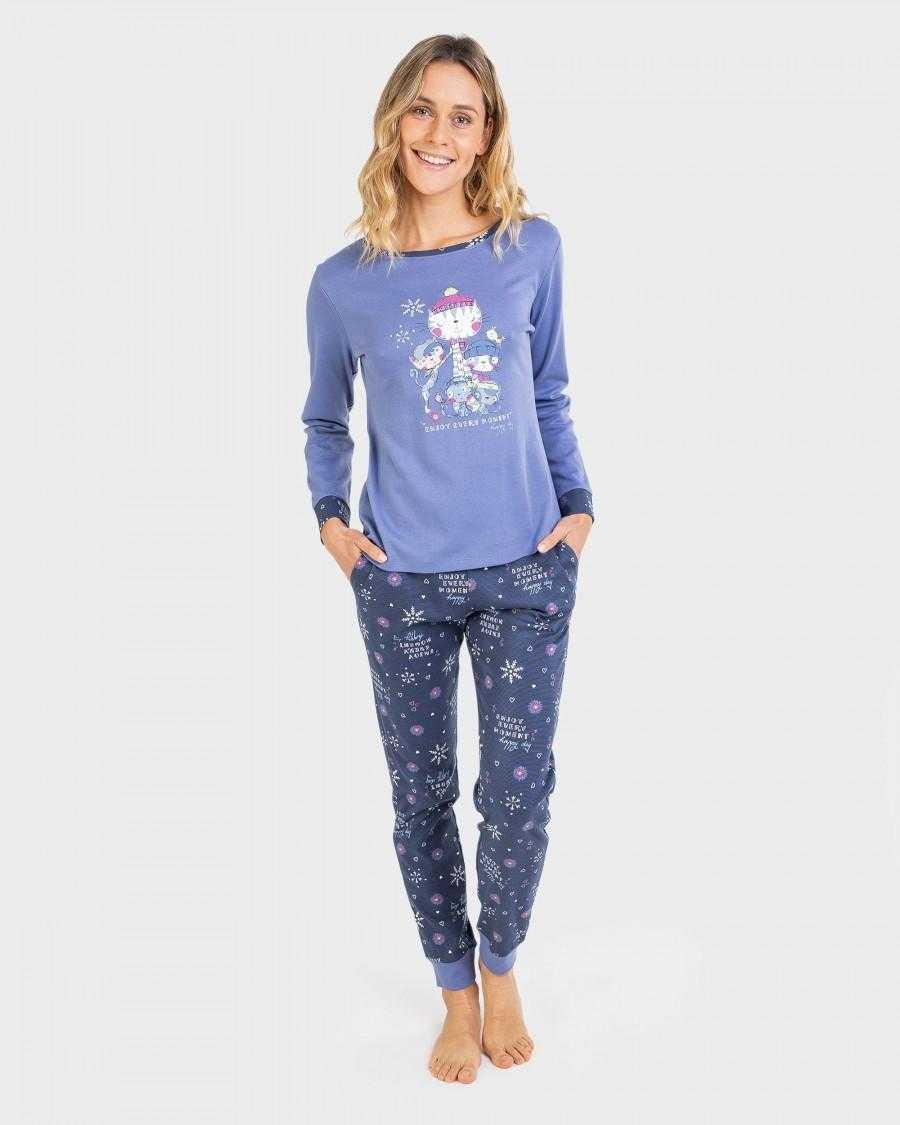 Pijama Señora Cats Massana TALLAS: m, l, xl; COLOR: azul  - Lencería noche  - PEPI GUERRA
