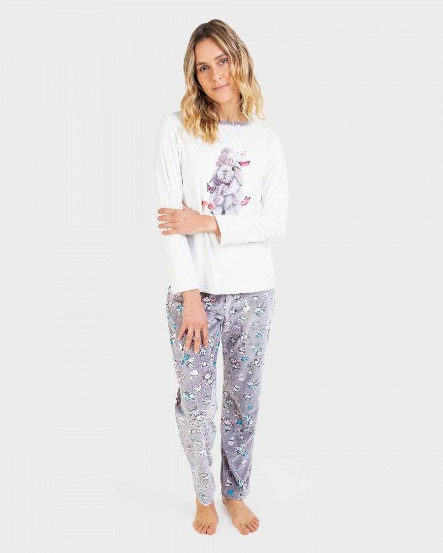 Pijama Señora Massana Rabbit Tea COLOR: gris; TALLAS: s, m, l, xl  - Lencería noche  - PEPI GUERRA
