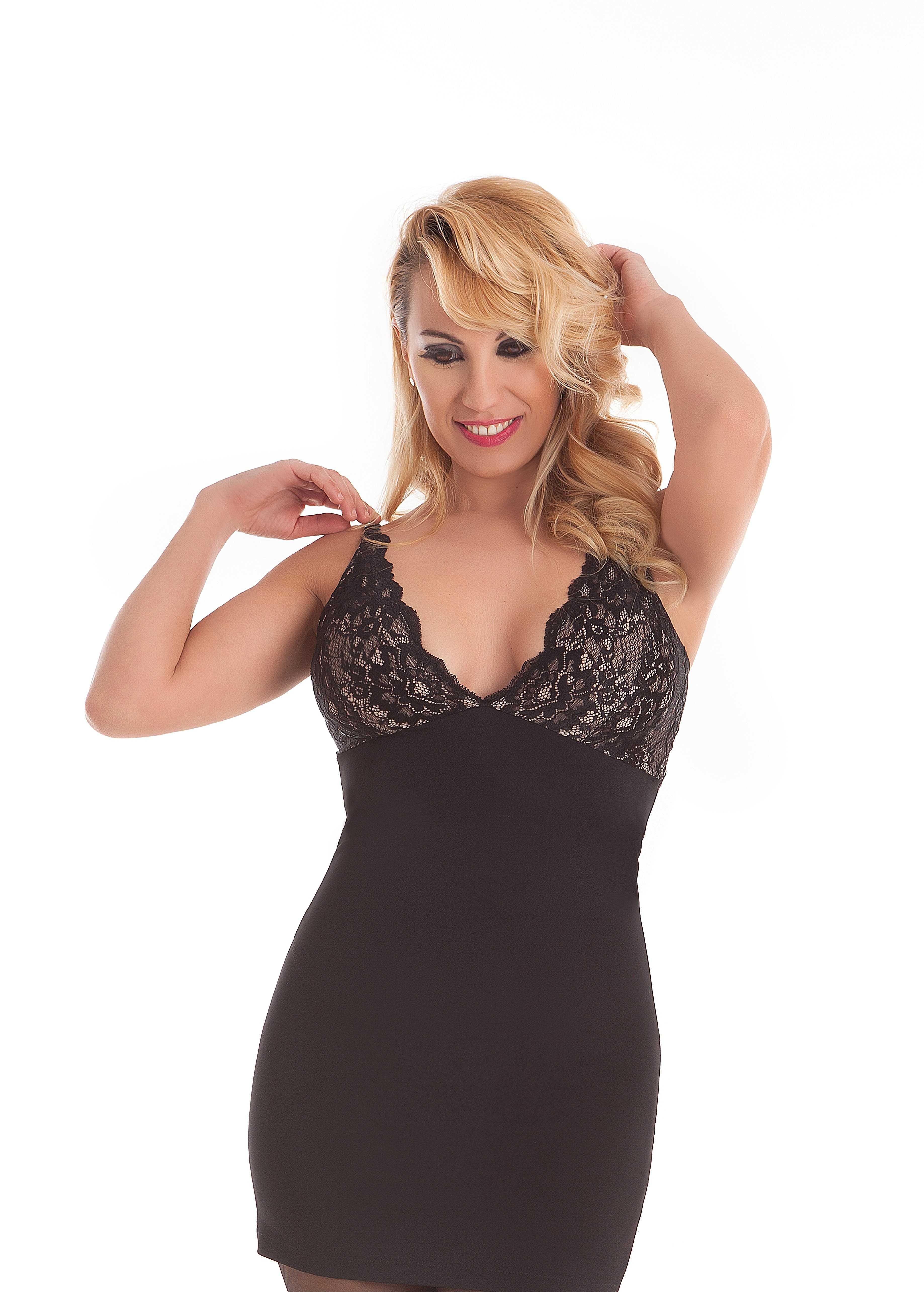 Vestido Moldeador encaje elástico Beauty Mariola TALLAS: m, l, xl, xxl; COLOR: negro, camel  - LENCERIA  - PEPI GUERRA