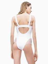 Bañador chica Calvin Klein Mesh TALLAS: s; COLOR: blanco Composición: poliamida - BAÑO  - PEPI GUERRA
