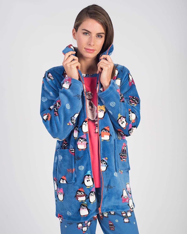 Bata mujer polar massana pinguinos