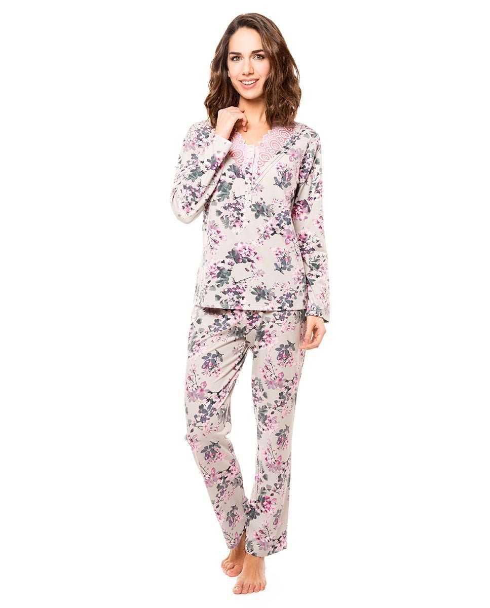 Pijama Señora Lohe Flores Gris