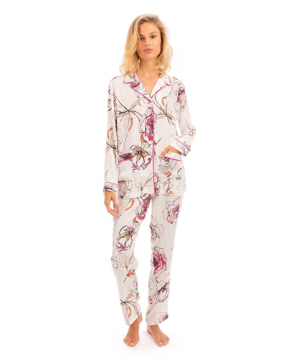 Pijama señora Lohe manga larga jacquard flores   - Lencería noche  - PEPI GUERRA