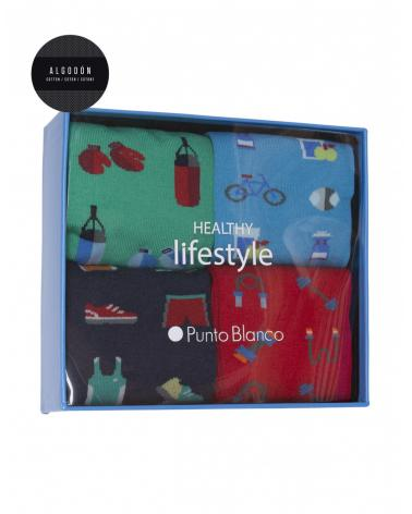 Caja 4 Calcetines Punto Blanco Helthy Lifestyle